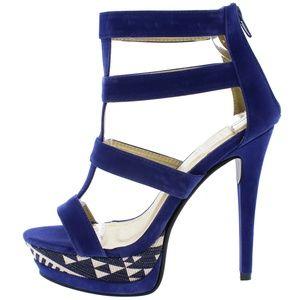 Maker's Shoes Shoes - Manhattan10 Royal Blue Caged Tribal Print Heels